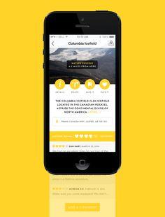 Tourism App – Place description (yellow UI design)