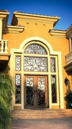 Beautiful Front Door with Faux Wrought Iron door insert ...
