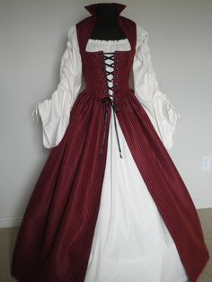 Celtic Renaissance Dresses | Dark Red Celtic Renaissance Over Gown Dress 2 sizes READY to SHIP