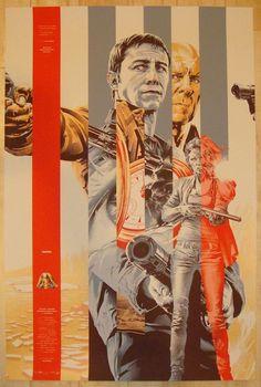 "2012 ""Looper"" - Gold Silkscreen Movie Poster by Martin Ansin"
