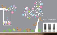 Tree, Squirrels, Owls and Birds Nursery Wall Decal