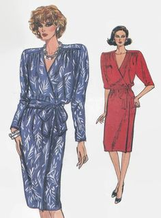 1980s Misses Dress Pattern Vogue 9775 Wrap Dress by PengyPatterns