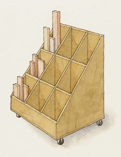 Woodworking Shop Cutoff cart - Regardless of the size of your shop, wood storage and scrap wood storage is always a challenge. Here nine DIY wood storage orgnaziners for your workshop. Workshop Storage, Workshop Organization, Diy Workshop, Lumber Storage Rack, Lumber Rack, Storage Cart, Plywood Storage, Craft Storage, Storage Bins