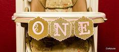 High chair Banner Pink and gold banner Princess by Craftytude