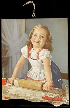 little girl with red rolling pin - artist unknown----This picture looks like my oldest sister when she was this age.