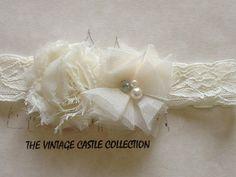 Elegant Ivory lace Chiffon flower bridal fascinator Accessory headband baby girl newborn toddler child Flowergirl Adult Women on Etsy, $11.07