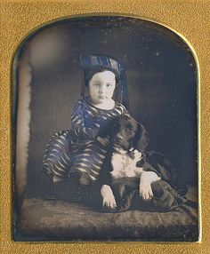 (c.1840s-1850s) A girl and her dog.