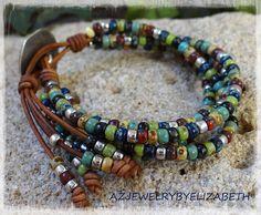 Boho Leather Bracelets For Women/ Gifts For Her/ Sunflower Wrap Bracelet/ Beaded Bracelet/ Bohemian Jewelry. Beaded Wrap Bracelets, Bracelets For Men, Fashion Bracelets, Jewelry Bracelets, Crochet Bracelet, Diamond Bracelets, Pandora Bracelets, Boho Jewelry, Beaded Jewelry