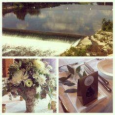 Reception details! Monogrammed birch vases and loose leaf tea guest favors!