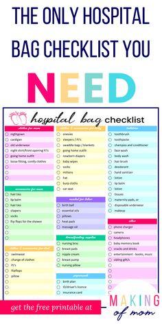 The Only Hospital Bag Checklist You Need [FREE printable!]