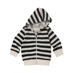 Sweatshirt, with zip and hood in yarn dyed cotton, ribbed cuff and hem.