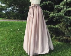 4455808648189d SWISS COFFEE/ CHAMPAGNE chiffon skirt, bridesmaid maxi skirt, floor length,  tea length empire waist, maxi skirt, Sash is additional charge