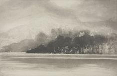 Windermere in January, Cartmel Landscape Drawings, Landscape Paintings, Norman Ackroyd, Black And White Tree, Etching Prints, Charcoal Art, Watercolor Painting Techniques, Chiaroscuro, Art Uk