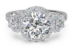 3.05 Cts 9K White Gold Three Stone Halo Signity Diamond Engagement Ring