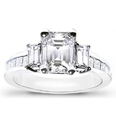 princess cut engagement rings with baguettes 29 - 25th Wedding Anniversary Rings