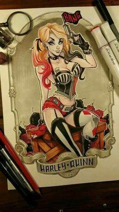 Harley Quinn Drawing, Joker And Harley Quinn, Dc Comics, Comics Girls, Comic Books Art, Comic Art, Gotham Girls, Gotham Batman, Sexy Cartoons