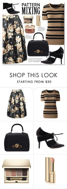 """""""Fall Trend"""" by jecakns ❤ liked on Polyvore featuring Lands' End, Clarins, Dolce&Gabbana, Rosantica, outfit, floralprint, striped, falltrend and patternmixing"""