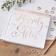Rose gold guest book - Happily Ever After wedding guest book - White guest book - Wedding guest book - Rose gold foil - Beautiful Botanics Wedding Keepsakes, Wedding Gifts, Bridal Gifts, Wedding Favours, Wedding Cards, Wedding Stationery, Wedding Planner, Gold Wedding, Wedding Day