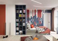 Dětský pokoj Avengers teenager návrhy interiérů a realizace Linie design studio Avengers, Studios, Kids Room, Divider, Entryway, Inspiration, Furniture, Home Decor, Entrance