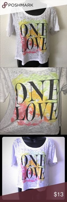 "Mighty Fine Tshirt ""One Love"" Mighty Fine Tshirt NWOT Size XL Fabric: 50% Cotton 50% Polyester  No snags, rips, Smoke Free House Tops Tees - Short Sleeve"