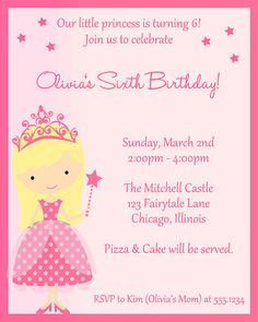 Princess Birthday Party Invitation Pink by TheInviteLadyShop, $7.00
