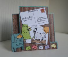 Center Step Card Using Lawn Fawn Bright Side, Critters In The Forest, You've Got Mail and Gnome Sweet Gnome