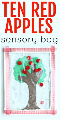 Ten Red Apples Sensory Bag:  Apple Tree Gel Bag for toddlers and preschoolers inspired by the classic book by Pat Hutchins.