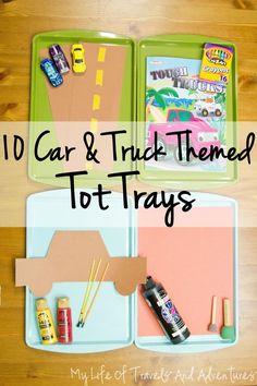 Car + Truck Themed Tot Trays   #TotTray #TotSchool #Preschool #Homeschool #Car #Truck #Vehicle