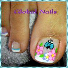 Uñas Pedicure Designs, Nail Designs, Ladybug Nail Art, Summer Toe Nails, Toe Nail Art, Mani Pedi, Pretty Nails, Hair Beauty, Candy