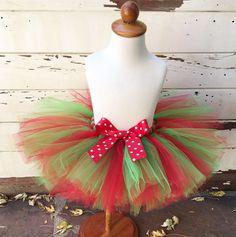 Christmas Tutu Red & Green Sewn Tutu 1st by CardsandMoorebyTerri