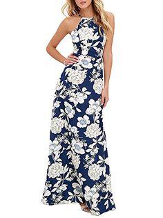e84756bdc75 Romacci Women s Sleeveless Halter Neck Maxi Dress Vintage Floral Print  Backless Beach Long Dresses S-
