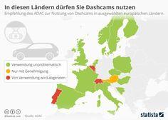Die Verwendung von Dashcams im Straßenverkehr ist im europäischen Ausland unterschiedlich geregelt bzw. nicht geregelt. Die Infografik zeigt, in welchen Ländern die Dashcam-Nutzung nach Recherchen des ADAC aktuell unproblematisch ist (grün), nur mit Genehmigung möglich ist (gelb) oder wo der ADAC von der Verwendung abrät (rot).   #Beweismittel #Dashcam #DashcamNutzung #Gerichtsverfahren #Straßenverkehr