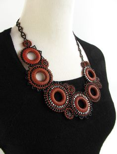 Laura Luepke, Modern Black and Orange Beaded Efflorescence Necklace