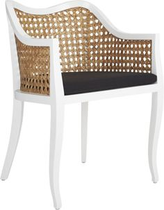 Airy rattan accent slicks up a nouveau take on tradition.  Handwoven of natural rattan, breezy seat and back keep things light, framed in solid mahogany lacquered hi-gloss white.