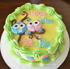 Owl theme gender reveal cake