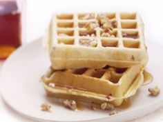 Pancetta and Cinnamon Waffles : Giada takes the idea of waffles with a side of bacon and turns it into an all-in-one breakfast treat, waffles with Italian bacon -- pancetta -- right in them.