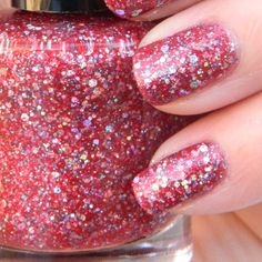 Fire and Ice Nail Polish - Red Glitter Nail Color by KBSHIMMER
