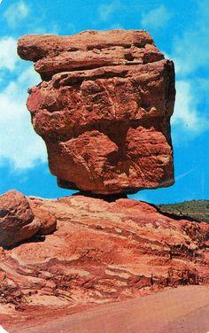 world famous balanced rock in the garden of Gods Pikes peak Colorado postcard