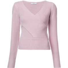 Tome crossover sweater (14.155 CZK) ❤ liked on Polyvore featuring tops, sweaters, pink, pink top, tome, pink sweater, merino sweater and merino wool tops