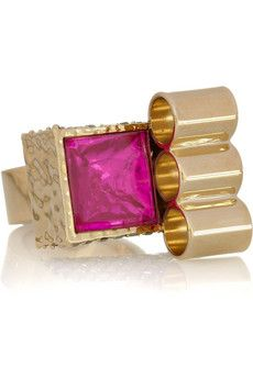Mawi Gold-plated Swarovski crystal ring   THE OUTNET