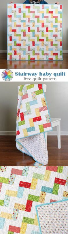A Bright Corner: Stairway Baby Quilt - a free quilt pattern that is jelly roll friendly or also makes a great scrap quilt!