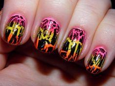 neon craquele nails  http://nailartpaintersp.blogspot.com.es/