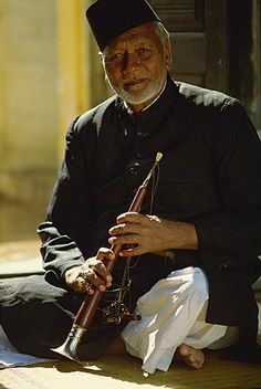 Ustad Bismillah Khan, shehnai player and one of India's most brilliant musicians, India