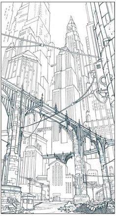 Vince Toyama: more Gotham City Cityscape Drawing, City Drawing, Toyama, Background Drawing, City Background, Background Patterns, Gotham City, Bg Design, City Sketch