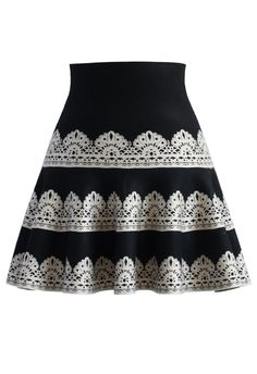 Contrast Lace Print Knitted Skater Skirt - Retro, Indie and Unique Fashion