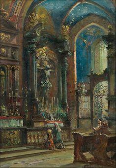 Władysław Chmieliński (Stachowicz)wnętrze Kościoła Mariackiego, przed 1939