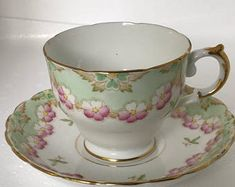 Tuscan Tea Cup and Saucer in pink and mint green, perfect vintage gift very collectible and perfect for afternoon tea