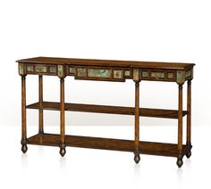 THEODORE ALEXANDER - A pollard burl and turquoise stone inlaid console table, the rectangular moulded edge top above a stone panelled frieze with three drawers, the turned legs joined by a two pollard oak shelves . The original 19th century Italian.