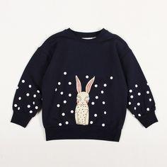 Mini Rodini trui donkerblauw konijn