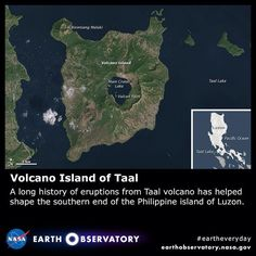 https://flic.kr/p/rKFLKe | Volcano Island of Taal | Taal volcano is complex. Instead of rising from the ground as a distinct, singular dome like its neighbor, Mayon, Taal consists of multiple stratovolcanoes, conical hills, and craters of all shapes and sizes. These features have grown together to form the 5-kilometer (3 mile) wide Volcano Island, one of the Philippines' most volcanically active areas.  The Operational Land Imager (OLI) on Landsat 8 acquired this image of Volcano Island on…